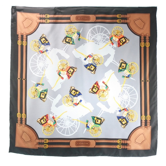 Coach Accessories - COACH WAGON PRINT SILK SCARF